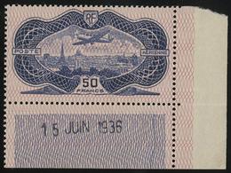** N°15 BURELE 50 Fr Outremer Avec Coin Daté Du 15/6/36. TB COTE 1500 € - 1927-1959 Mint/hinged