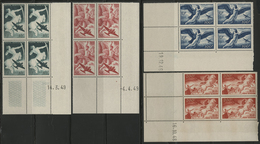 ** N°16 à 19 (x4) Série Mythologique En Bloc De Quatre Avec Coins Datés. TB COTE 72 € Voir Description - 1927-1959 Mint/hinged