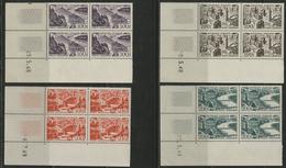 ** N°24 à 27 (x4) AVION SURVOLANT DES GRANDES VILLES En BLOC DE QUATRE Tous Avec COIN DATE. TB COTE 552 € - 1927-1959 Mint/hinged