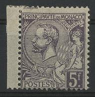 * N°46 5 Fr Violet Type Albert 1er Avec Un Petit Bord De Feuille Latéral. TB COTE 240 € - Monaco