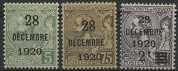 ** N°48 à 50 Série Surchargée '28 / DECEMBRE / 1920' Pour Le Baptême De La Princesse Antoinette. TB COTE 90 € - Monaco