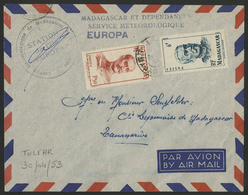 1953 L'ILE EUROPA. Timbres De Madagascar N° 308 1,50 Fr Rouge + N° 314 6 Fr Bleu Obl. C.à.d 'TULEAR MADAGASCAR' - Terres Australes Et Antarctiques Françaises (TAAF)