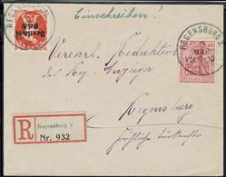 Allemagne - 1921 - Affranchissement Mixte à 90 Pf. Sur Enveloppe Recommandée De Régensburg Intra-muros - B/TB - - Cartas