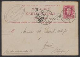 EP (réponse) Au Type 10ctm Rouge Expédié De Sedan / Ardennes (France) > Gand - Cartes Postales [1871-09]
