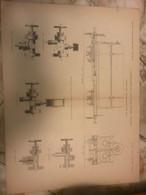 Antica Stampa Progetto Treni A Vapore Primi 900 Vagoni Ferrovia - Maschinen