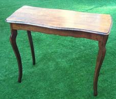 Table Console Ancienne Quatre Faces Plateau Chêne Reposant Sur 4 Pieds Galbés - Meubels