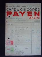 Facture 1949 Café & Chicorée Payen Angre Vente Café Pour Frameries Taxe 3.20 F - Levensmiddelen