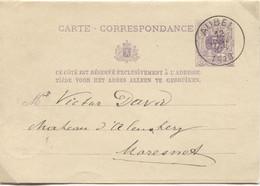REF1885/ Entier CP 9 C.Aubel 12/1/1878 > Moresnet C.d'arrivée Montzen 13/1/78 - Postkaarten [1871-09]