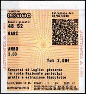 Ricevuta Giocata Del LOTTO Ambo Sulla Ruota Di Bari - Loterijbiljetten
