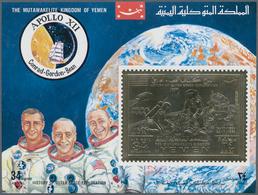 Jemen - Königreich: 1969, The History In Space Flight Imperf. Miniature Sheet With 34b. Gold Foil St - Yemen