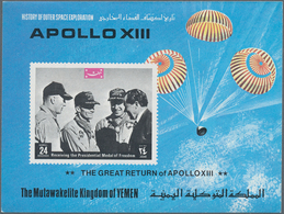 Jemen - Königreich: 1969, Return Of The Apollo XIII Crew Imperf. Miniature Sheet 24b. 'The Astronaut - Yemen