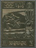 Jemen - Königreich: 1969, Summer Olympics Munich 1972 'Show Jumping' Perforated Gold Foil Stamps Inv - Yemen