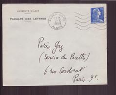 """Algérie, Enveloppe à En-tête """" Université D'Alger """" Du 2 Mai 1958 De Alger Pour Paris - Storia Postale"""