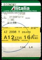 Carta D'imbarco - Boarding Pass - Roma / Milano - Economy - Europe