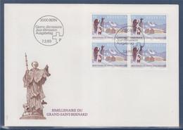 Enveloppe 1er Jour Suisse Berne 7.3.89 Timbre Bimillénaire Du Grand Saint Bernard, 4 Timbres - FDC
