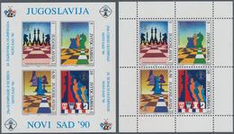Thematik: Spiele-Schach / Games-chess: 1990, Yugoslavia. CHESS OLYMPIAD, Novi Sad. Lot With 1,000 Bl - Scacchi