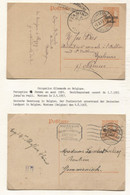 REF1889/ Entier CP Germania C.Montzen 5/2/17 & 4/8/18 > Gemmenich & Malonne C.d'arrivée Flawinne Censure Lüttich Liège - WW I