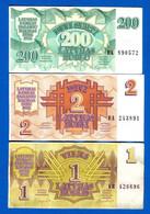 Lettonie  3  Billets - Letonia