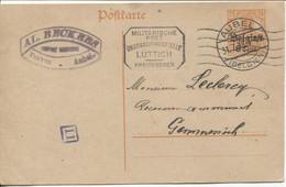 REF1890/Entier CP 8 Cent écrit De Teuven Fouron Limbourg C.Al.Beckers C.Aubel 31/7/18 Censure Lüttich-Liège > Gemmenich - WW I