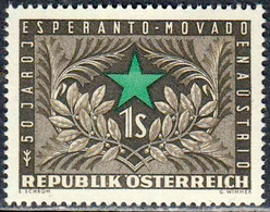 Austria Autriche Österreich 1954: ESPERANTO MOVADO  Michel-No. 1005 * Mit Falz MLH (Michel 5.00 Euro Für **) - Esperanto