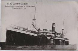 Paquebot De La Cie FABRE - BRAGA ( Télégraphie Sans Fil à Bord) - Marqué Par Erreur KOUROUSSA - Piroscafi