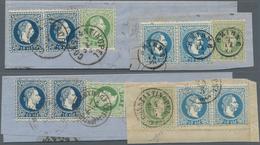 """Österreichische Post In Der Levante: 1867/1875, Interessante Partie Mit 24 Briefstücken, Alle Mit """"2 - Levant Autrichien"""