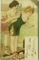 RISQUE ART 1900s POSTCARD - SEXI LADIES IN SWIM COSTUME - (BG912) - Other Illustrators