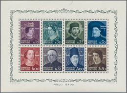 Portugal: 1949, Dynasty Souvenir Sheet, All Plate Numbers 1-8 Complete, Ten Pieces Each, Mint Never - 1910-... République