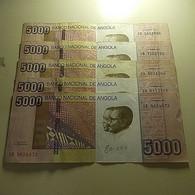 Lot 5 Banknotes 5000 Kwanzas 2012 Angola - Alla Rinfusa - Banconote