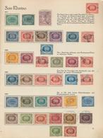 """San Marino: 1877/1960. Ein """"sprechendes Behrens Album"""" Gut Gefüllt, Dazu Einige Steckkarten Mit U.a. - Saint-Marin"""