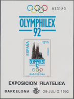 Spanien: 1992, Summer Olympics Barcelona And International Stamp Exhibition OLYMPHILEX'92 In Barcelo - 2001-10 Neufs