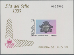 Spanien: 1993, Stamp Day Imperforate Special Miniature Sheet On Ungummed Paper In A Lot With About 2 - 2001-10 Neufs