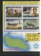 (stamps 16/9/2020) Solomon Island - US Independence Bi-Centenrary Mint Mini-sheet - Salomoninseln (Salomonen 1978-...)
