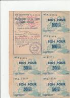 14 BONS POUR 100 Fr ÉLECTRICITÉ PRÉFECTURE DE LA SEINE AIDE SOCIALE MARS 1949 - Elektrizität & Gas