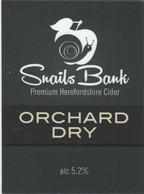 SNAILS BANK CIDER  (WORCESTER, ENGLAND) - ORCHARD DRY - PUMP CLIP FRONT - Signs