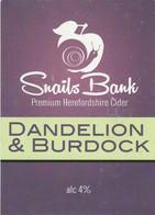 SNAILS BANK CIDER  (WORCESTER, ENGLAND) - DANDELION & BURDOCK - PUMP CLIP FRONT - Signs