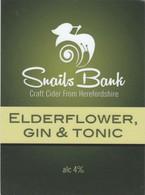 SNAILS BANK CIDER  (WORCESTER, ENGLAND) - ELDERFLOWER, GIN & TONIC - PUMP CLIP FRONT - Signs