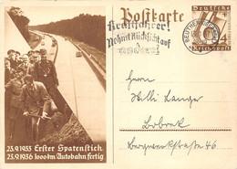 Ganzsache Deutsches Reich Autobahn Spatenstich 1933 Bis 1936 Kraftfahrer Nehmt Rücksicht Ab Beuthen Oberschlesien - Storia Postale