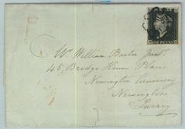 BK0661 - GB Great Brittain - POSTAL HISTORY - PENNY BLACK Plate 7 On COVER 1841 - Briefe U. Dokumente