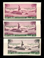 Liban Poste Aérienne N° 193 Trois Timbres Non Dentelés Neufs ** MNH Avec Variétés De Nuances. TB. A Saisir! - Lebanon