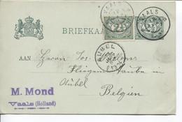 REF1892/ Holland BK 2 1/2 Uprated M.Mond C.Vaals 12/1/1904 > Aubel Arrival Stamp 13/1/1904 - Postwaardestukken