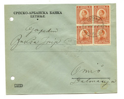Srpsko-Arbanska Banka (Serbo-Albanian Bank) Letter Cover Posted 1923 Cetinje To Omiš B200915 - Montenegro