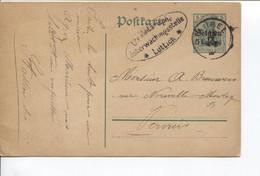 REF1893/ Entier CP Germania 5 Centimes C.Aubel 12/1/15 Censure Lüttich > Verviers - WW I