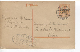 REF1894/ Entier CP Germania 8 Cent écrit De Fouron St.Martin Càp Aubel 20/6/17 Censure Lüttich > Liège - WW I