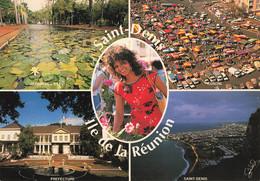 Ile La Reunion Carte 5 Vues Panorama Saint Denis Marché Prefecture Vue Aerienne Jardin De L' Etat Jeune Femme - Sin Clasificación