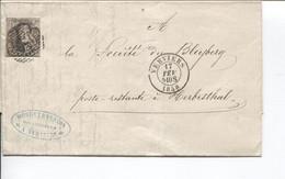 REF1895/ TP 6 3 Marges S/LAC Daté Verviers C.Verviers 17/2/1858+Obl.Barres 123 > Soc.Bleyberg Poste Restante Herbesthal - Balkstempels: Ontvangerijen