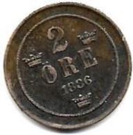 SUEDE...2  ORE  1886......TTB........PORT FRANCE 1.50...EUROPE 3.20 - Suecia