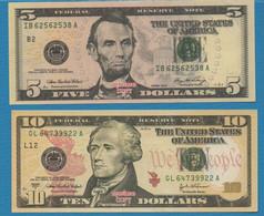HELL BANKNOTES LOT 5 BILLETS 5+10+20+50+100 DOLLARS  USA - Fiktive & Specimen