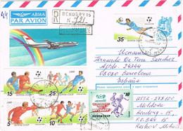 37721. Carta Entero Postal Aerea Certificada BENDERY (Moldova) Rusia 1990 . Stamp Football, Futbol - Storia Postale