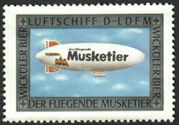 """Wuppertal Brauerei Wicküler Bier """" Luftschiff Der Fliegende Musketier Wie Zeppelin """" Vignette Cinderella Reklamemarke - Erinnofilia"""